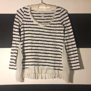 Anthropoligie women's top striped pleated SZ small